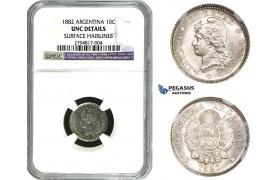 ZM621, Argentina, 10 Centavos 1882, Silver, NGC UNC Det.