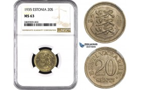ZM624, Estonia, 20 Senti 1935, NGC MS63