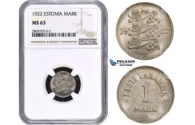 ZM626, Estonia, 1 Mark 1922, NGC MS63