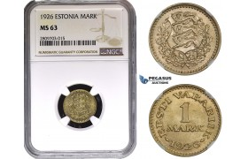 ZM628, Estonia, 1 Mark 1926, NGC MS63
