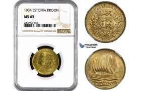 ZM635, Estonia, 1 Kroon 1934, NGC MS63