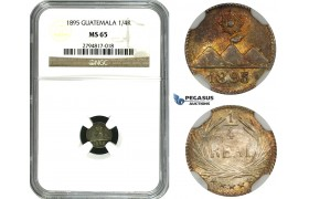 ZM636, Guatemala, 1/4 Real 1895, Silver, NGC MS65
