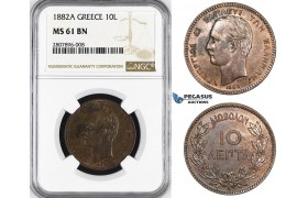 ZM64, Greece, George I, 10 Lepta 1882-A, Paris, NGC MS61BN