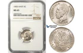 ZM65, Haiti, President Alexis, 5 Centimes 1905, Waterbury, NGC MS65
