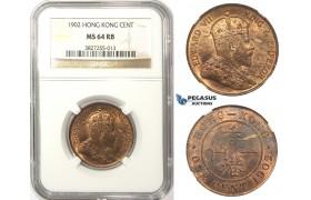 ZM66, Hong Kong, Edward VII, 1 Cent 1902, NGC MS64RB