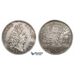 ZM666, France, Louis XIV, Silver Token Medal 1711 (Ø30.5mm, 7.8g)  Apiculture, Bee Hive