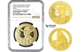 ZM674, Switzerland, Shooting 500 Francs 2003, Le Locle, Gold, Basel - California Gold Rush, NGC PF69 Ultra Cameo, Mintage 150pcs
