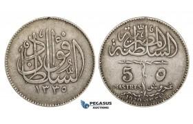 ZM678, Egypt, Fuad, 5 Piastres 1920-H, Heaton, Silver, VF