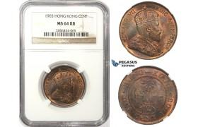 ZM68, Hong Kong, Edward VII, 1 Cent 1903, NGC MS64RB