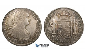 ZM684, Mexico, Charles IV, 8 Reales 1798 Mo FM, Mexico City, Silver, Toned XF