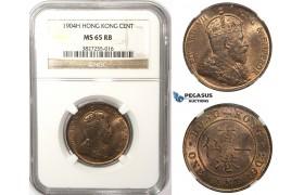 ZM69, Hong Kong, Edward VII, 1 Cent 1904-H, Heaton, NGC MS65RB