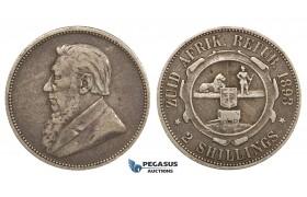 ZM690, South Africa (ZAR) 2 Shillings 1893, Silver, VF, Rare!