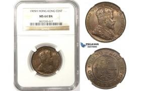 ZM71, Hong Kong, Edward VII, 1 Cent 1905-H, Heaton, NGC MS64BN