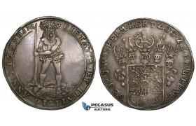 "ZM716, Germany, Brunswick Calenberg Hanover, Georg Wilhelm, ""Wildman"" Taler 1665 HS, Zellerfeld, Silver (28.89g) Cabinet toning, aXF"
