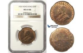 ZM72, Hong Kong, George V, 1 Cent 1926, NGC MS64RB
