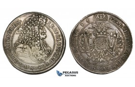 ZM721, Hungary, Leopold I, Taler 1692 KB, Kremnitz, Silver (28.39g) Part weak struck, Toned gVF