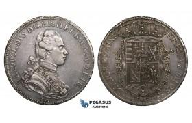 ZM722, Italy, Tuscany, P. Leopoldo, Francescone 1780, Florence, Silver (27.46g) Toned AU, Rare in grade!