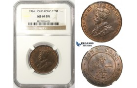 ZM73, Hong Kong, George V, 1 Cent 1926, NGC MS64BN