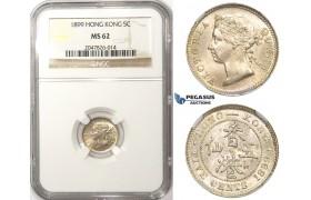 ZM74, Hong Kong, Victoria, 5 Cents 1899, Silver, NGC MS62