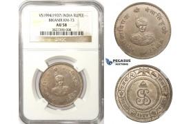 ZM78, India, Bikanir, Gangha Singh (Maharaja) 1 Rupee VS1994 (1937) Silver, NGC AU58