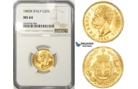 ZM79, Italy, Umberto I, 20 lire 1882-R, Rome, Gold, NGC MS64
