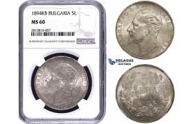 ZM797, Bulgaria, Ferdinand I, 5 Leva 1894 KB, Kremnitz, Silver, NGC MS60