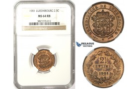 ZM80, Luxembourg, William III, 2 1/2 Centimes 1901, NGC MS64RB
