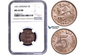 ZM800, Estonia, 5 Senti 1931, NGC MS63RB