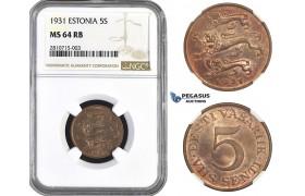 ZM801, Estonia, 5 Senti 1931, NGC MS64RB