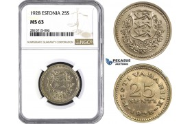 ZM803, Estonia, 25 Senti 1928, NGC MS63