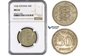 ZM804, Estonia, 50 Senti 1936, NGC MS63