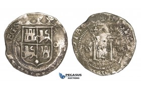 ZM81, Mexico, Carlos & Johanna, 4 Reales ND (ca. 155?-1557) Mo O, Mexico City, Silver (13.19g) VF (some corrosion)