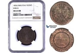 ZM817, Italy, Emilia, Carlo Felice, 5 Centesimi 1826, Torino, NGC MS63RB