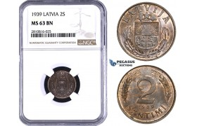 ZM818, Latvia, 2 Santimi 1939, NGC MS63BN