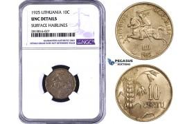 ZM820, Lithuania, 10 Centai 1925, NGC UNC Details
