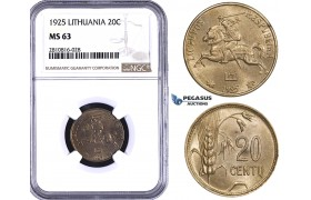 ZM821, Lithuania, 20 Centai 1925, NGC MS63