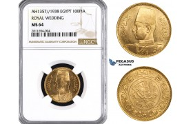 ZM832, Egypt, Farouk, 100 Piastres AH1357/1938 (Royal Wedding) Gold, NGC MS64