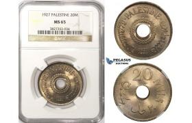 ZM84, Palestine, 20 Mils 1927, London, NGC MS65