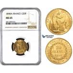 ZM846, France, Third Republic, 20 Francs 1898-A, Paris, Gold, NGC MS65