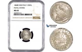 ZM906, Italy, Papal, Pius IX, 10 Soldi 1868 (XXII) R, Rome, Silver, NGC MS65