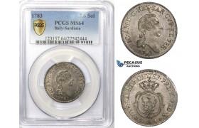 ZM907, Italy, Sardinia, Vittorio Amedeo III, 7.6 Soldi 1783, Turin, Silver, PCGS MS64