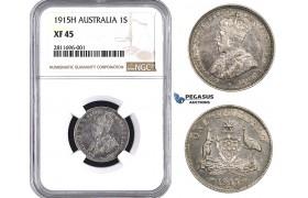 ZM921, Australia, George V, 1 Shilling 1915-H, Heaton, Silver, NGC XF45