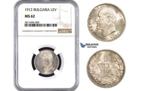 ZM923, Bulgaria, Ferdinand, 1 Lev 1912, Silver, NGC MS62, Pop 2/0