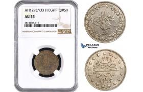 ZM929, Ottoman Empire, Egypt, Abdülhamid II, 1 Qirsh AH1293/33-H, Heaton, NGC AU55