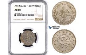 ZM930, Ottoman Empire, Egypt, Abdülhamid II, 1 Qirsh AH1293/33-H, Heaton, NGC AU58
