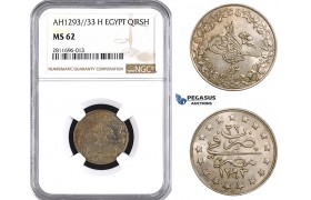 ZM931, Ottoman Empire, Egypt, Abdülhamid II, 1 Qirsh AH1293/33-H, Heaton, NGC MS62