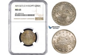 ZM932, Ottoman Empire, Egypt, Mehmed Resad V, 1 Qirsh AH1327/2-H, Heaton, NGC MS63