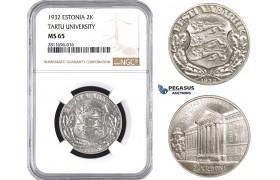 ZM934, Estonia, 2 Krooni 1932, Silver, NGC MS65
