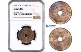 ZM936, French Indo-China, 1 Centime 1910-A, Paris, NGC MS65RB