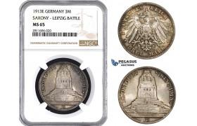 ZM937, Germany, Saxony, 3 Mark 1913-E (Leipzig Battle) Silver, NGC MS65